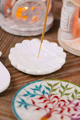 White Marble Lotus Carved Incense Plate