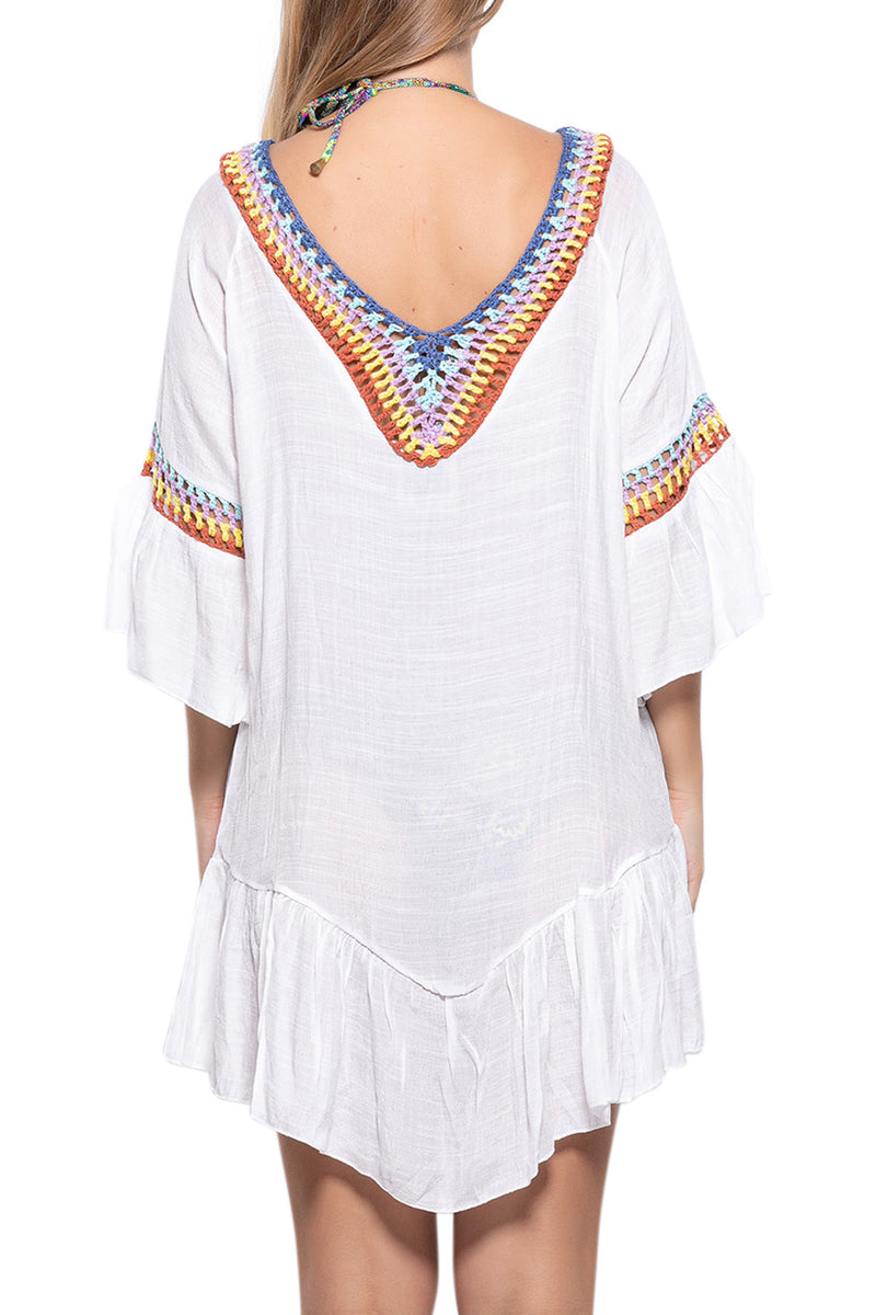 Rainbow Crochet Beach Cover Up Tunic