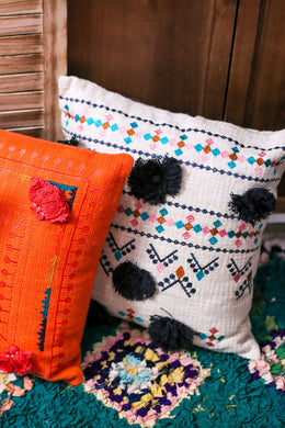 Bolero Pom Pom Embroidered Lines Cushion