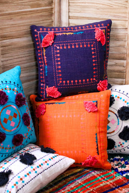Bolero Pom Pom Embroidered Border Cushion