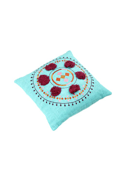 Bolero Pom Pom Circle Embroidered Cushion
