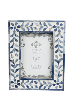 Floral Blue Bone Photo Frame