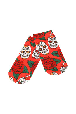 Womens Digital Print Socks - Skull Rose