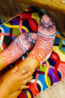 Womens Digital Print Socks - Half Mandala