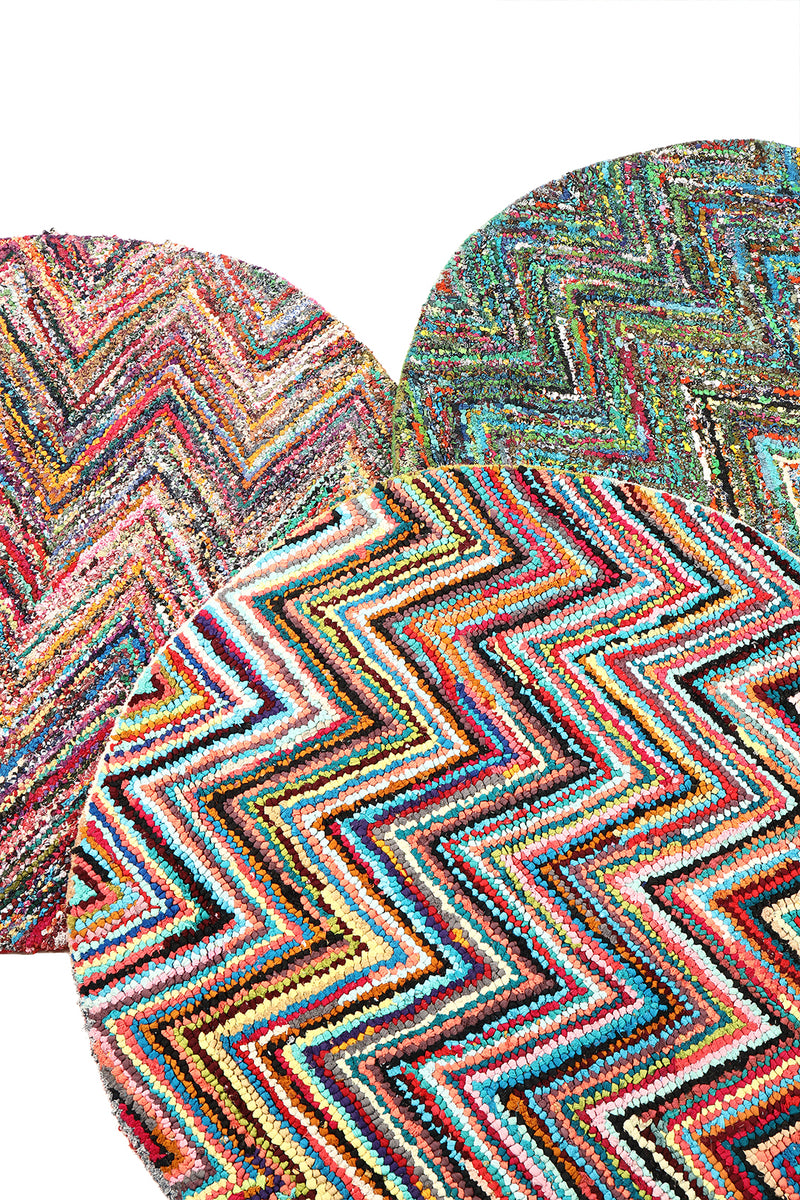 Assorted Multicolour Round Rag Rug