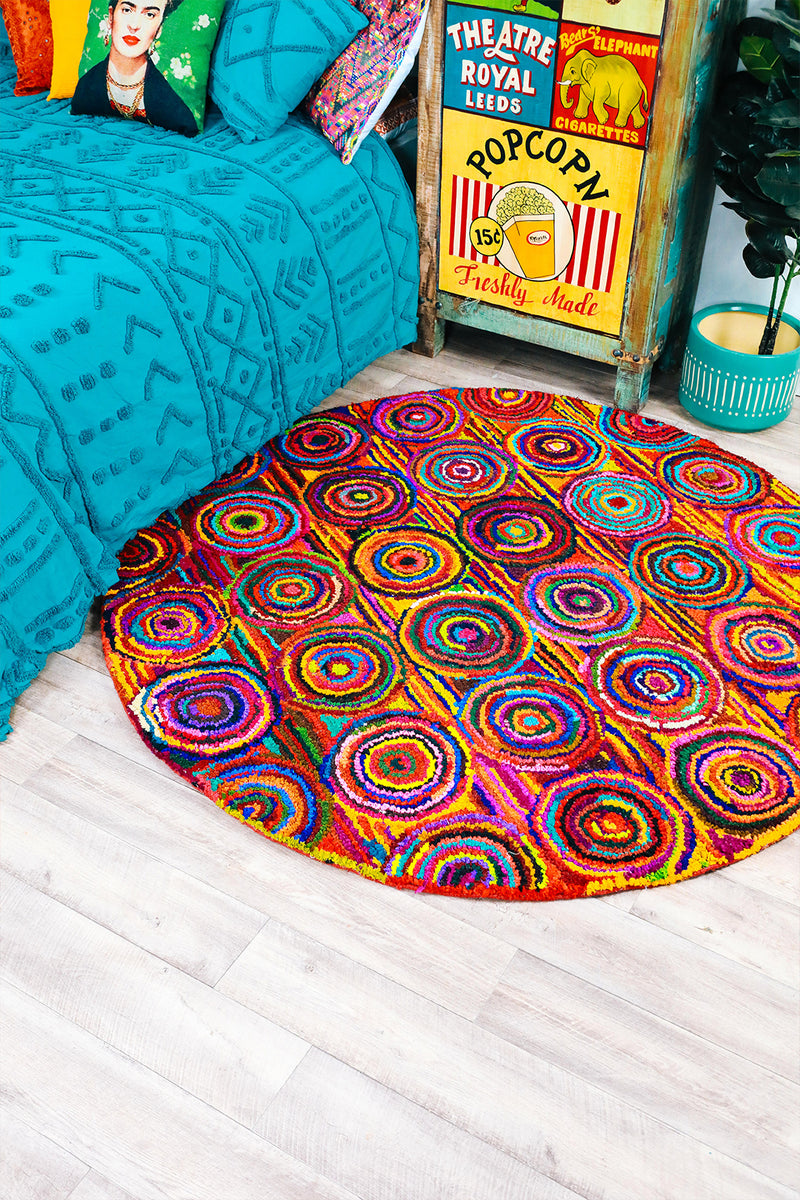 Assorted Large Multicolour Round Rag Rug