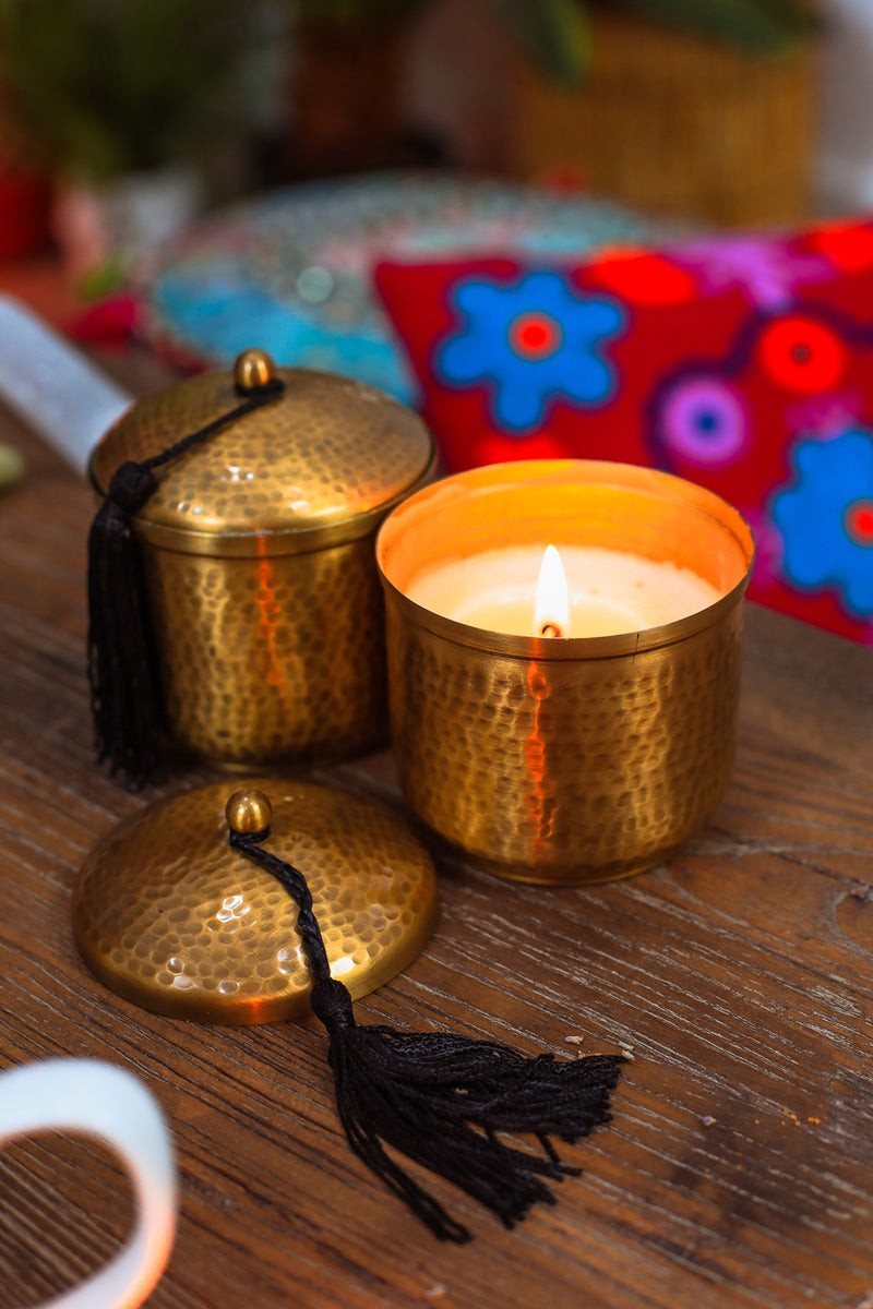 Hammered Metal Gold Candle Tin Ishka