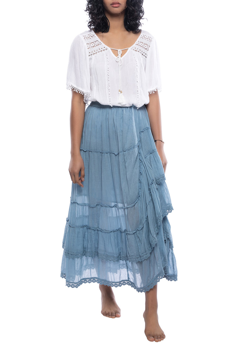 Lace Trim High Low Tiered Skirt