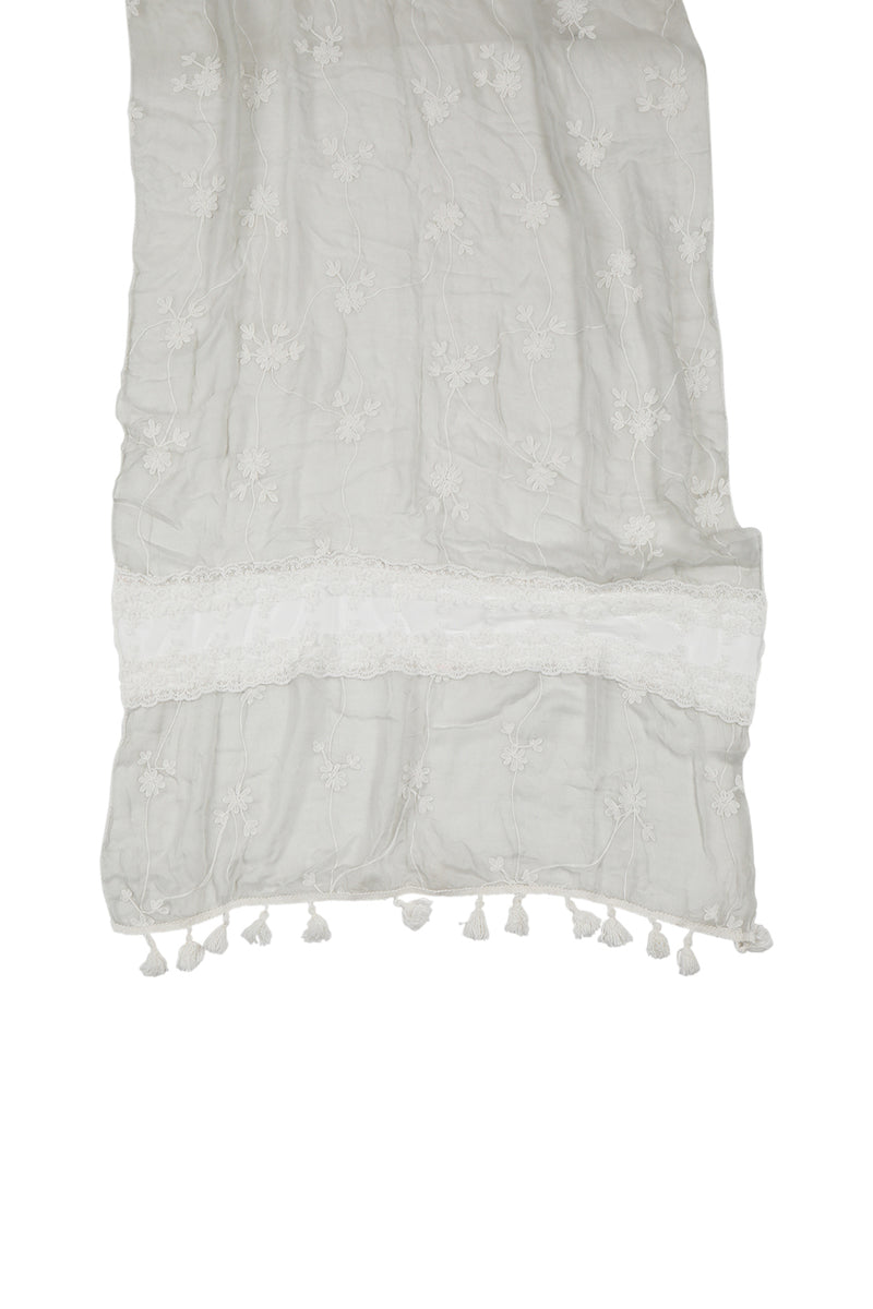 Embroidered Lace Panel Scarf