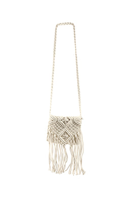 Fringed Crochet Pouch Bag
