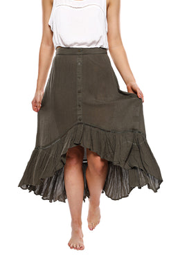 Button-Front Frill High-Low Hem Skirt
