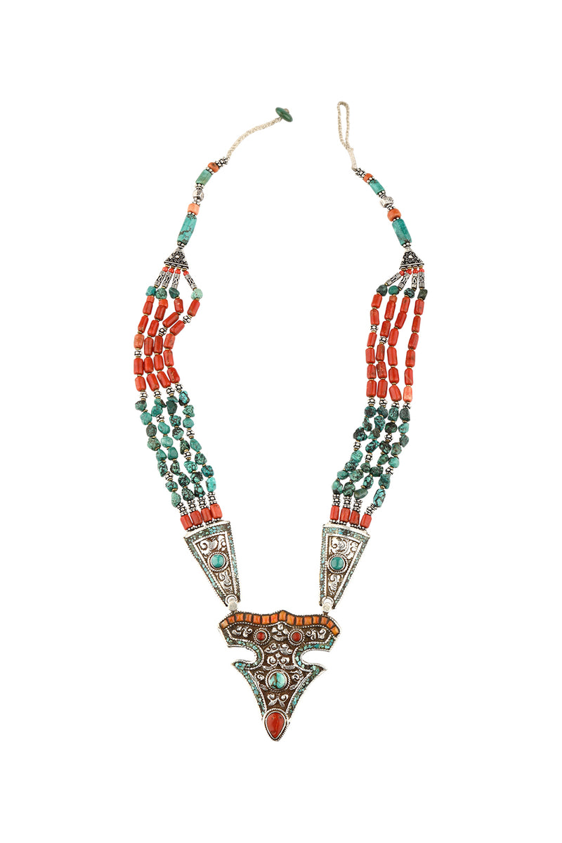 Statement Tibetan Tradition Turquoise & Coral Necklace