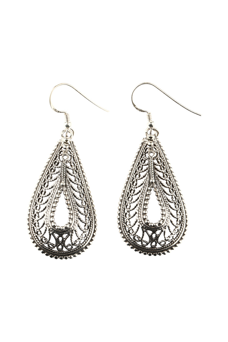 Open Filigree Silver Teardrop Earrings