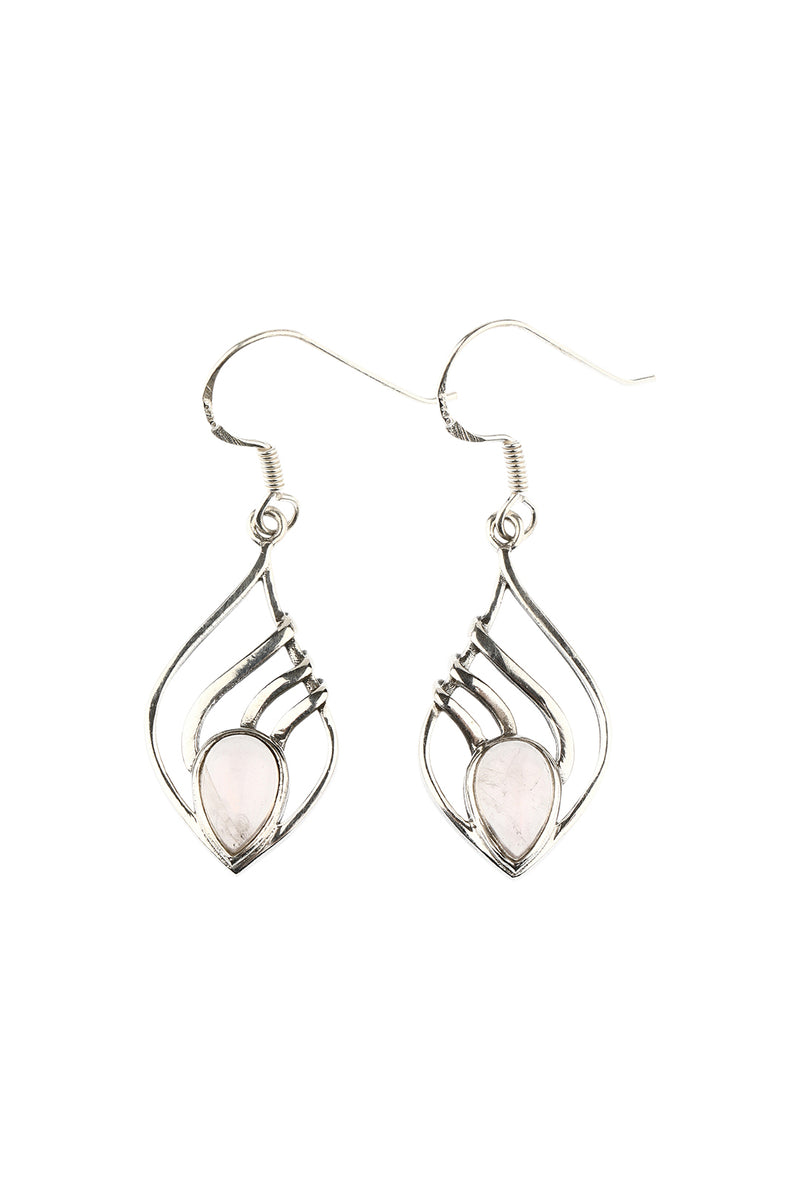 Rose Quartz Silver Swirl Earrings