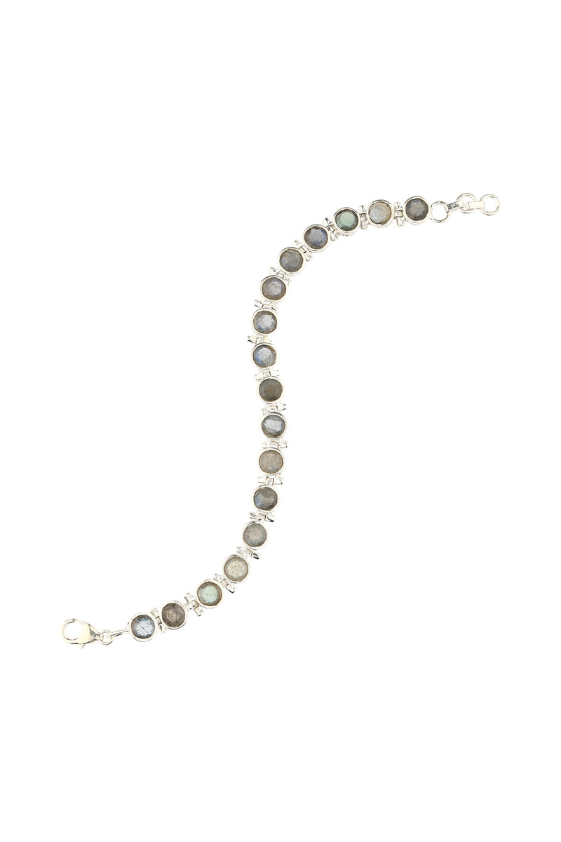 Linked Gemstone Silver Bracelet