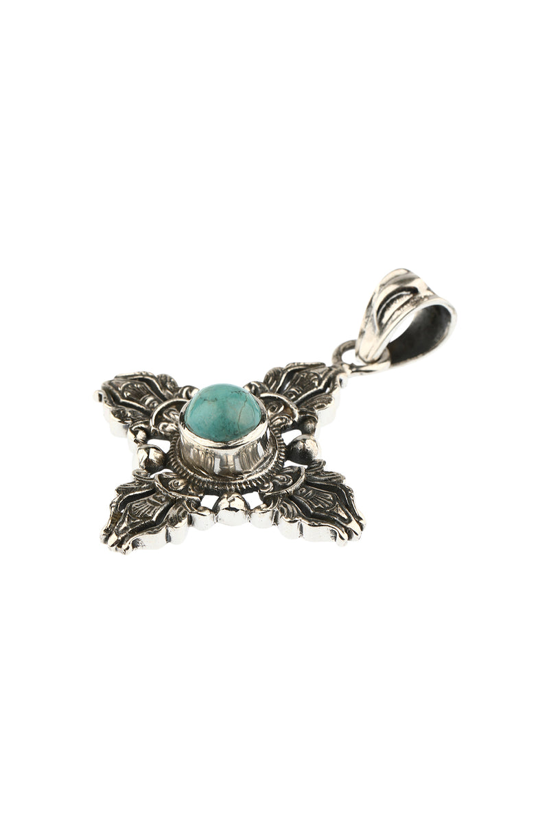 Traditional Ornate Turquoise Silver Cross Pendant