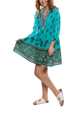 V-Neck Beaded Floral Tunic