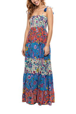Tiered Mix Floral Maxi Dress