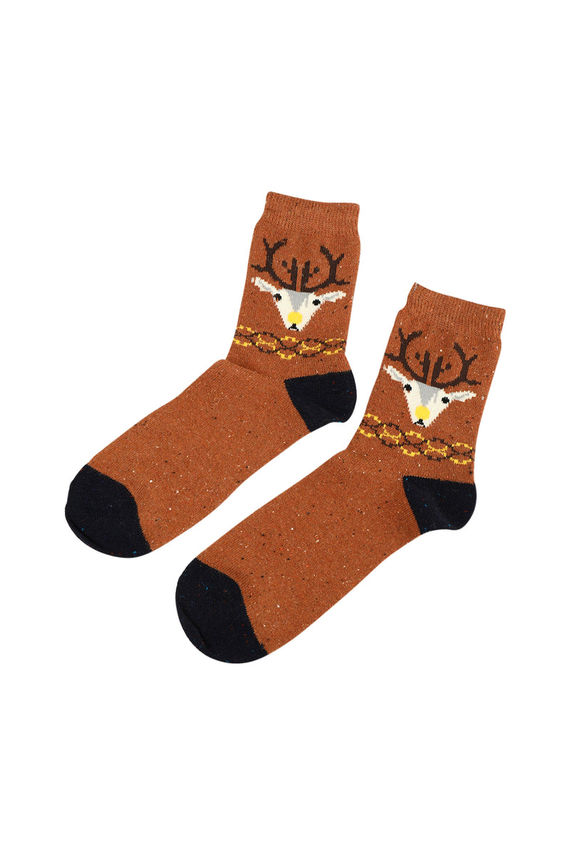 Reindeer Head Mens Socks