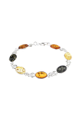 Oval Baltic Amber Linked Silver Bracelet