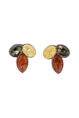 Multicolour Baltic Amber Cluster Silver Earrings