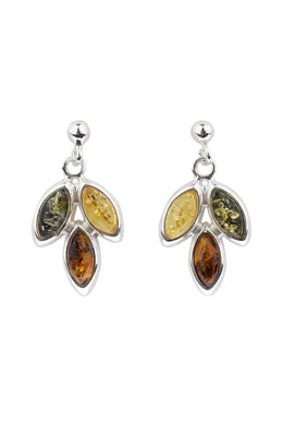 Baltic Amber Cluster Drop Silver Earrings