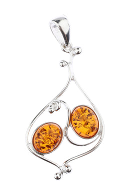 Double Baltic Amber Swirl Silver Pendant