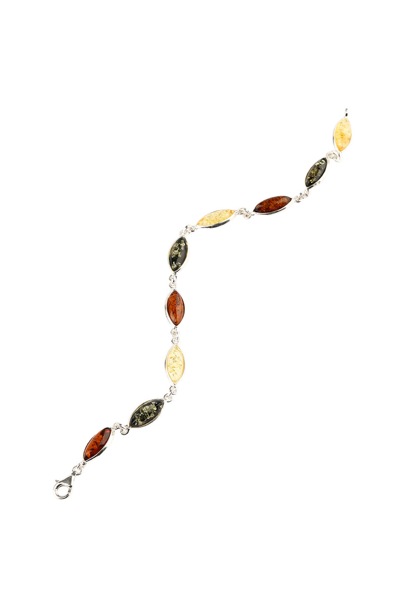 Marquise Mixed Baltic Amber Silver Bracelet