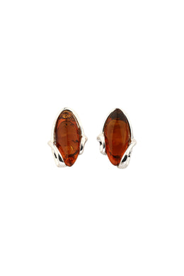 Baltic Amber Wrapped Silver Stud Earrings