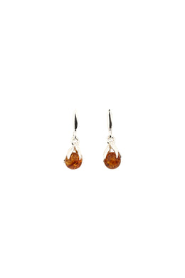 Droplet Baltic Amber Silver Stud Earrings