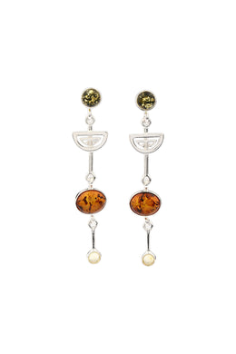 Baltic Amber Geometric Droplet Silver Earrings