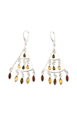 Swinging Statement Fine Baltic Amber Silver Earrings