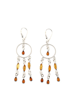 Fine Droplet Baltic Amber Silver Earrings