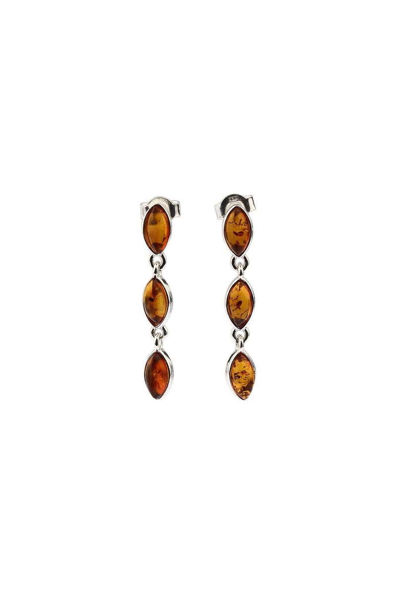 Marquise Linked Baltic Droplet Silver Earrings