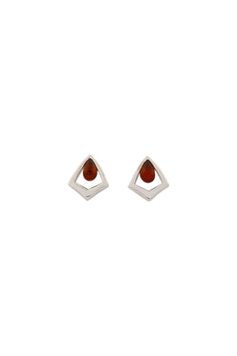 Mini Baltic Amber Teardrop Silver Stud Earrings