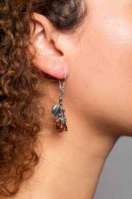 Baltic Amber Rose Silver Earrings