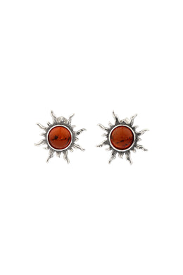 Baltic Amber Sun Stud Silver Earrings
