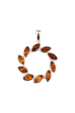 Circular Marquise Baltic Amber Silver Pendant