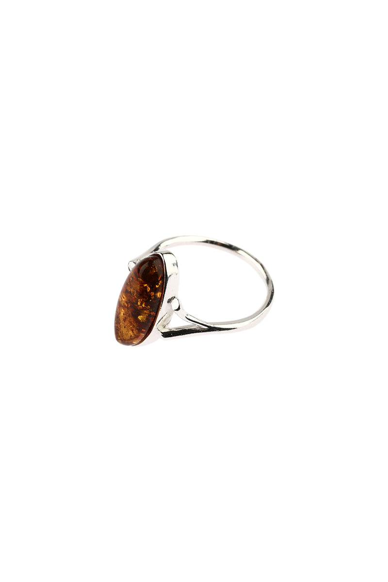 Fine Marquise Baltic Amber Silver Ring