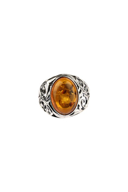 Baltic Amber Filigree Silver Ring