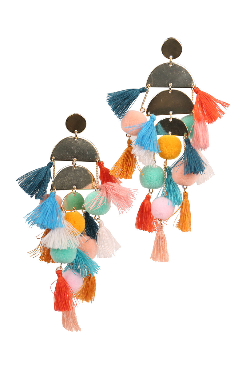 Tassel Pom Pom Earrings