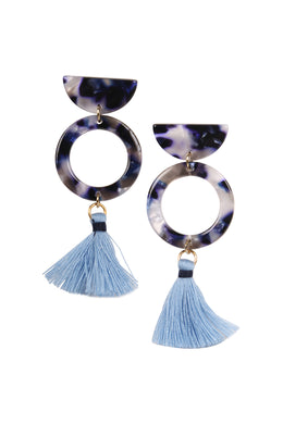 Multicolour Acrylic & Mini Tassel Earrings