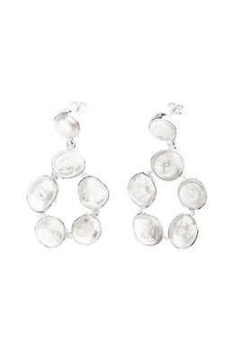Statement Irregular Freshwater Pearl Silver Earrings
