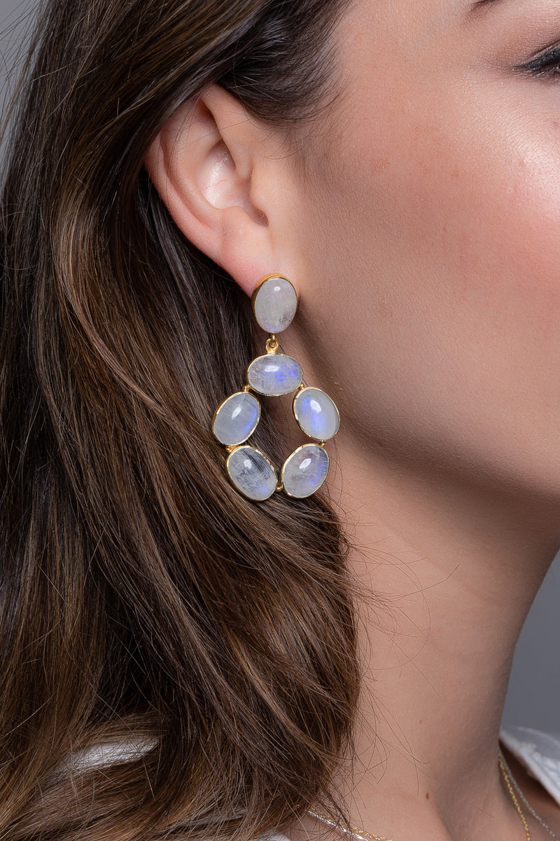 Statement Rainbow Moonstone Gold-Plated Silver Earrings