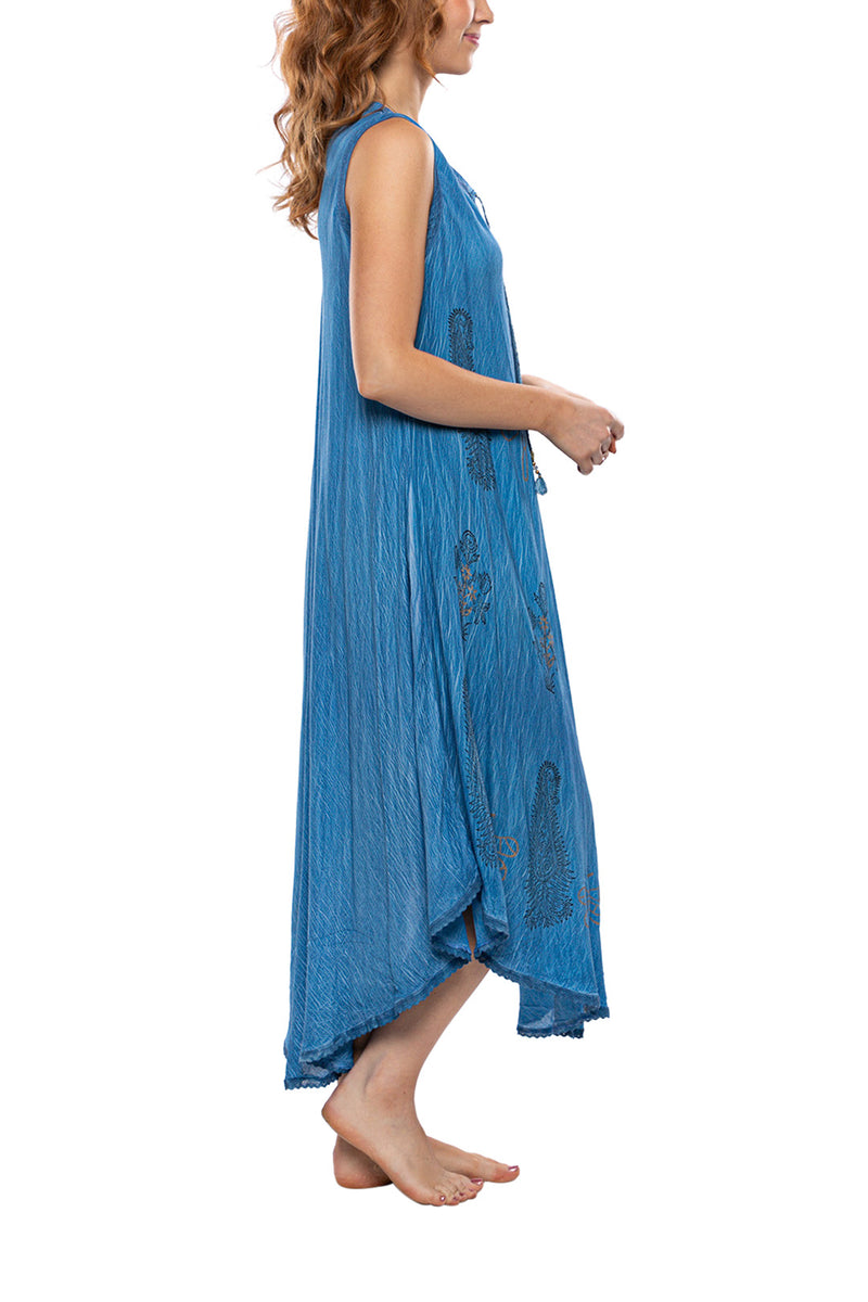 Sleeveless Tie-front Print Maxi Dress