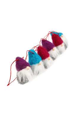 Set of 6 Wool Gnome Decorations