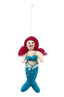 Teal Mermaid Wool Hanging Decoration