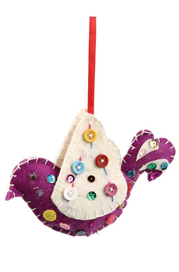 Purple Felt Bird Hanging Decoration