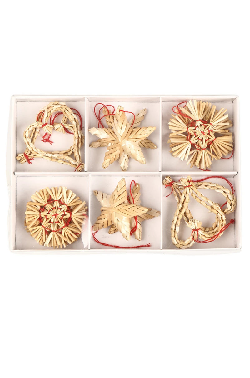 16pc Hanging Star Straw Decorations