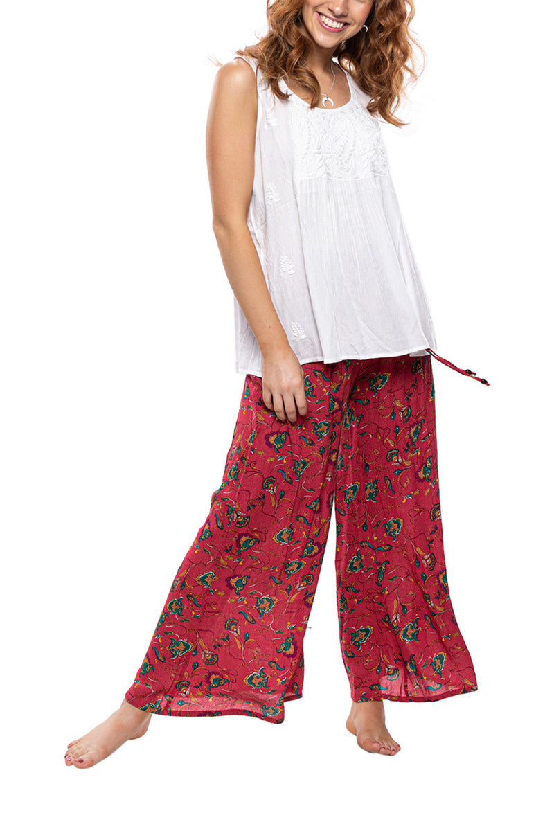Wide Leg Retro Floral Pants